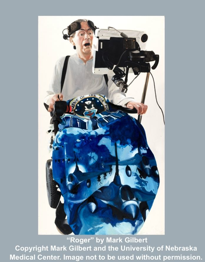 Oil on Canvas painting of man with disability in wheelchair with variety of  technologies to assist him