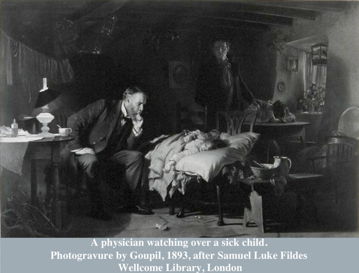 A physician watching over a sick child.