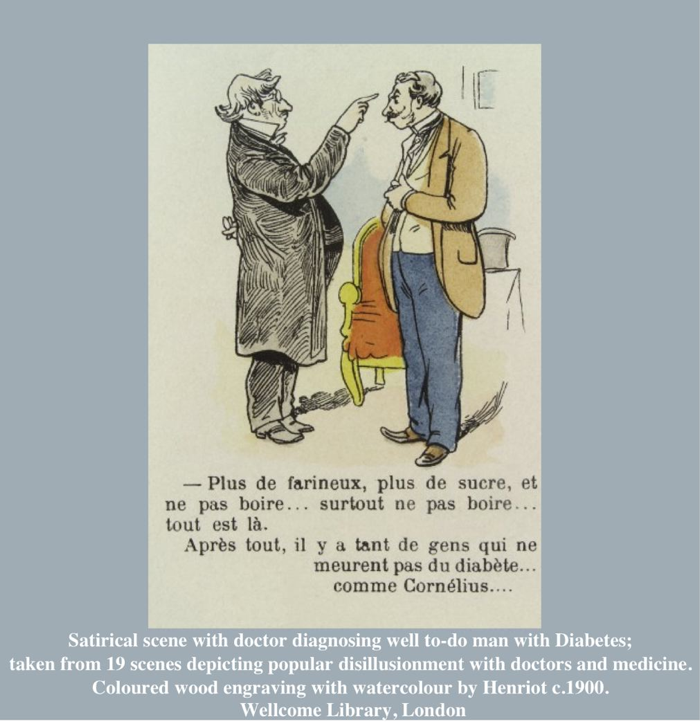 Satirical scene with doctor diagnosing well to-do man with Diabetes