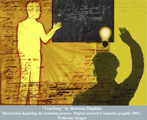 """""""Teaching"""" by Rowena Dugdale, Illustration depicting the teaching process. Digital artwork/Computer graphic 2002, Wellcome Images"""