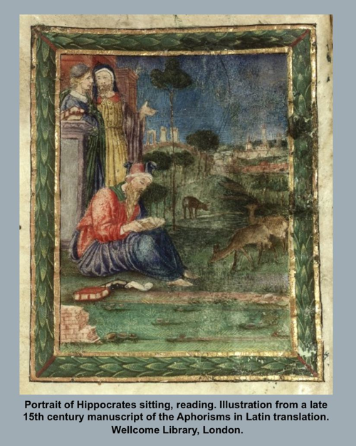 Portrait of Hippocrates sitting, reading.